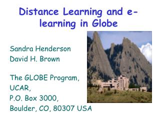 Distance Learning and e-learning in Globe