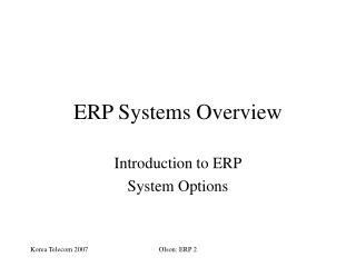 ERP Systems Overview