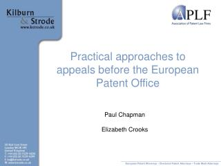 Practical approaches to appeals before the European Patent Office