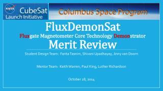 FluxDemonSat Flux gate Magnetometer Core Technology  Demon strator Merit  Review
