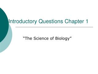 Introductory Questions Chapter 1