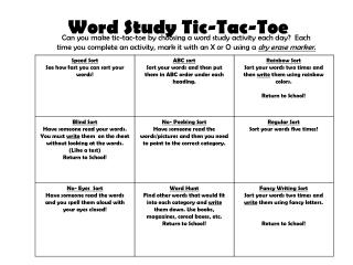 Word Study Tic-Tac-Toe