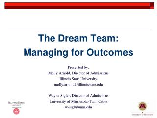 The Dream Team: Managing for Outcomes Presented by: Molly Arnold, Director of Admissions