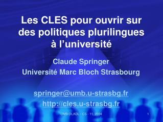 Les CLES pour ouvrir sur des politiques plurilingues à l'université