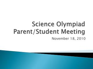 Science Olympiad Parent/Student Meeting