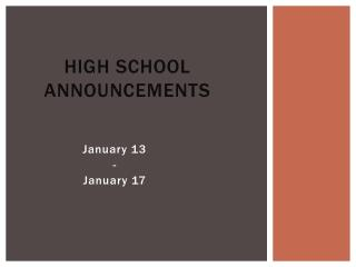 High School Announcements