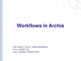 Workflows in Archie