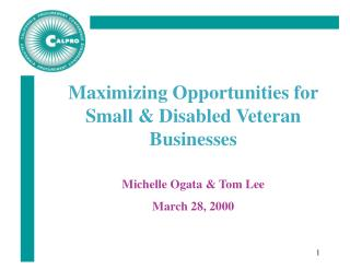 Maximizing Opportunities for  Small  Disabled Veteran Businesses