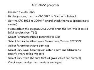CPC 3022 program