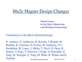 Mu2e Magnet Design Changes