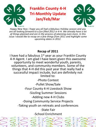 Franklin County 4-H Tri-Monthly Update Jan/Feb/Mar