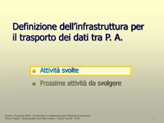 Definizione dell'infrastruttura per il trasporto dei dati tra P. A.
