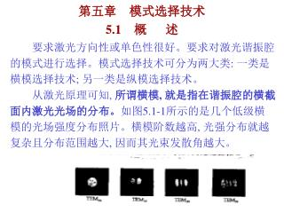 第五章    模式选择技术 5.1     概      述