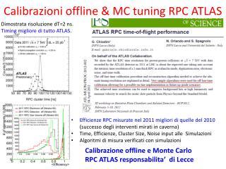 Calibrazioni  offline & MC tuning RPC ATLAS