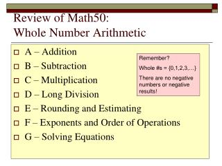 Review of  Math50: Whole Number Arithmetic