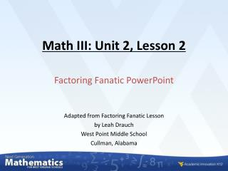 Math III: Unit 2, Lesson 2