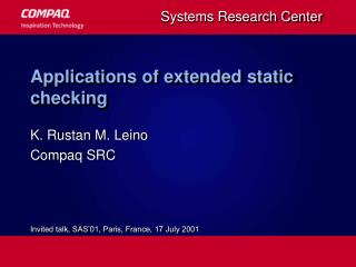 Applications of extended static checking