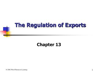 The Regulation of Exports