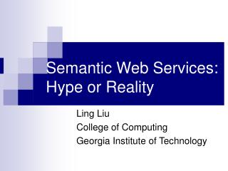 Semantic Web Services:  Hype or Reality