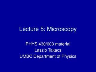 Lecture 5: Microscopy