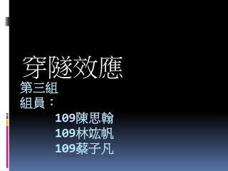 第三組 組員: 109 陳思翰      109 林竑帆 109 蔡子凡