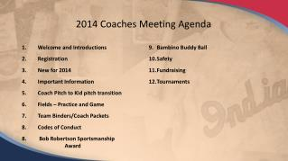 2014 Coaches Meeting Agenda