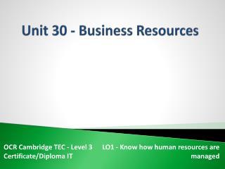 Unit 30 - Business Resources
