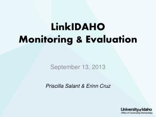 LinkIDAHO  Monitoring & Evaluation