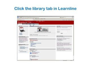 Click the library tab in Learnline