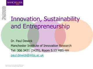 Innovation, Sustainability and Entrepreneurship