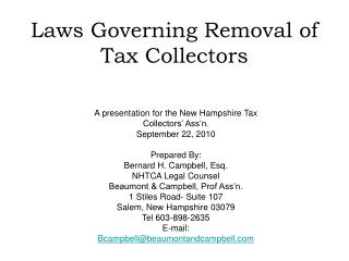 Laws Governing Removal of Tax Collectors