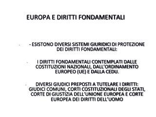 EUROPA E DIRITTI FONDAMENTALI