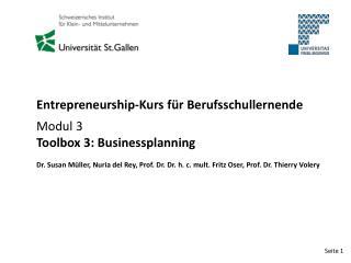 Entrepreneurship-Kurs für Berufsschullernende Modul 3 Toolbox 3: Businessplanning
