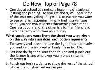 Do Now: Top of Page 78