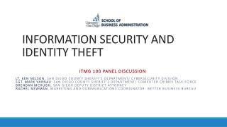 INFORMATION SECURITY AND IDENTITY THEFT