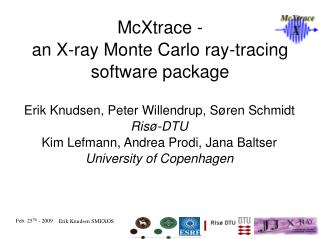 McXtrace -  an X-ray Monte Carlo ray-tracing software package