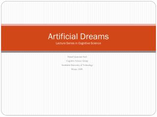 Artificial Dreams Lecture Series in Cognitive Science