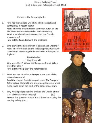 History Bridging Project Unit 1: European Reformation 1500-1564