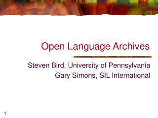 Open Language Archives