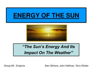 ENERGY OF THE SUN