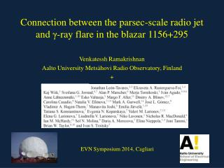 Connection between the parsec-scale radio jet and  γ -ray flare in the blazar 1156+295