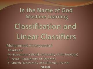 Classification and  Linear Classifiers