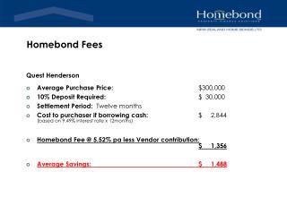Homebond Fees