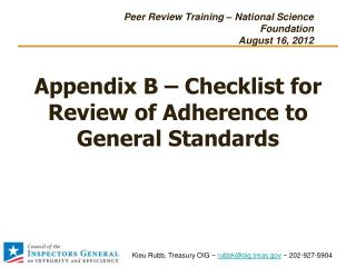 Appendix B – Checklist for Review of Adherence to General Standards