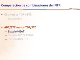 Comparación de combinaciones de INTR