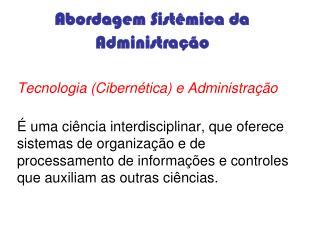Abordagem Sistêmica da Administração