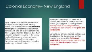 Colonial Economy- New England