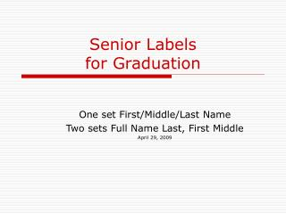 Senior Labels for Graduation