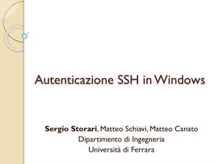 Autenticazione SSH in Windows