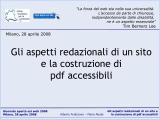 Gli aspetti redazionali di un sito e la costruzione di pdf accessibili